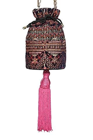 Black & Fuchsia Embroidered Potli Bag by Tara Thakur