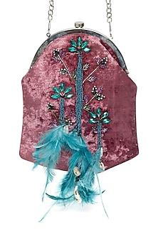 Fuchsia & Teal Embroidered Pouch Bag by Tara Thakur
