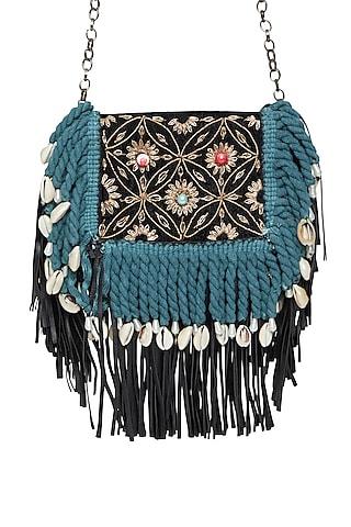 Black & Teal Embroidered Sling Pocket Bag by Tara Thakur