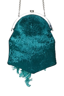 Sky Blue Hand Embroidered Pouch Bag by Tara Thakur