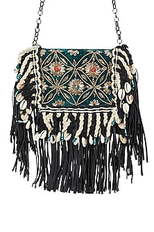 Black Embroidered Sling Pocket Bag by Tara Thakur