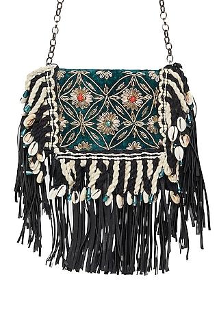 Black Embroidered Sling Pocket Bag by Tara Thakur