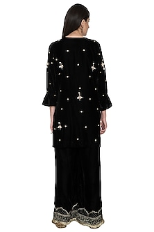 Black Embroidered Tunic With Pants by Tara Thakur