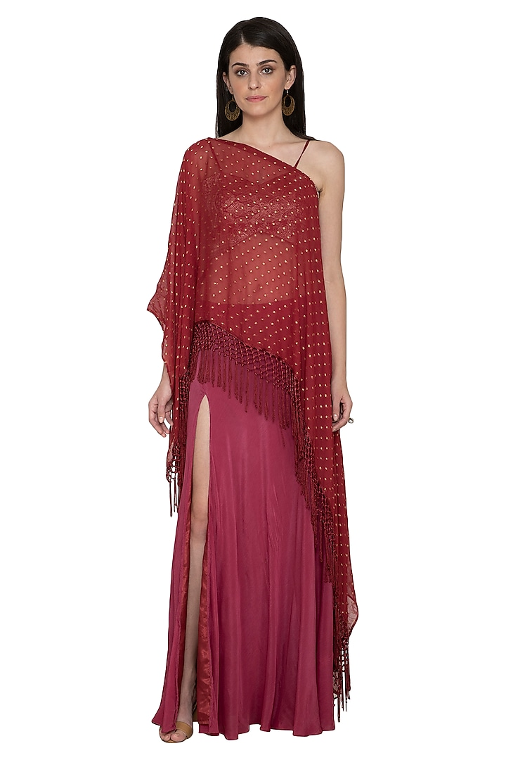 Red Asymmetrical Top With Skirt by Tara Thakur