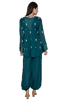 Teal Embroidered Jacket With Jumpsuit by Tara Thakur