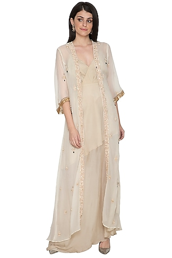 Ivory Asymmetric Dress With Embroidered Jacket by Tara Thakur