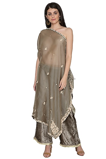 Olive Green Embroidered Draped Top With Pants by Tara Thakur