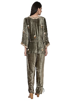 Olive Green Embroidered Tunic With Pants by Tara Thakur