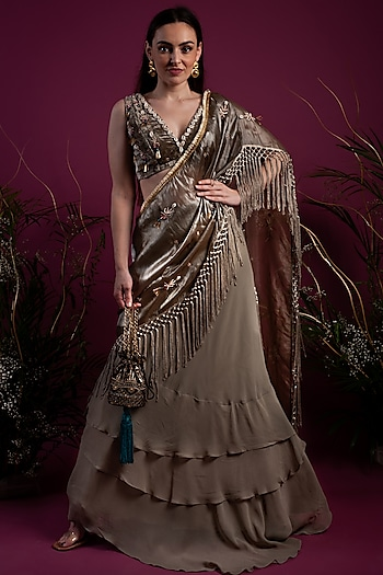 Olive Green Draped Saree Gown Set by Tara Thakur