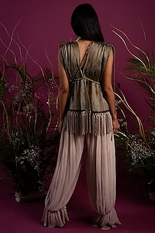 Olive Green Crinkled Top With Pants by Tara Thakur