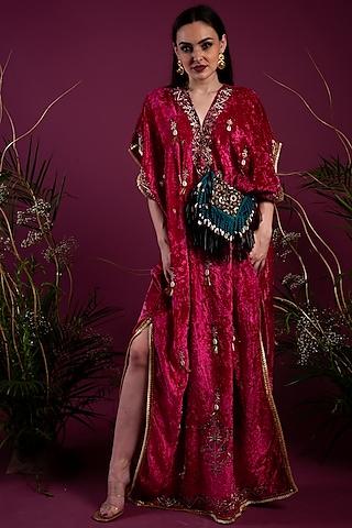 Fuchsia Kaftan Dress by Tara Thakur