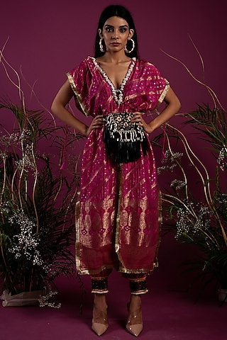 Fuchsia Top With Slit Pants by Tara Thakur