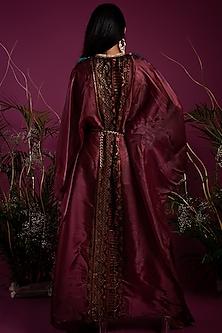 Red Shimmer Kaftan Dress by Tara Thakur