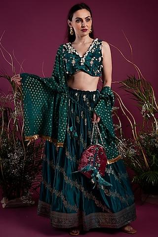 Emerald Green Lehenga Set by Tara Thakur