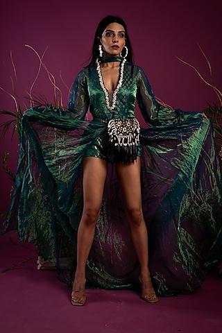 Emerald Green Asymmetrical Dress by Tara Thakur