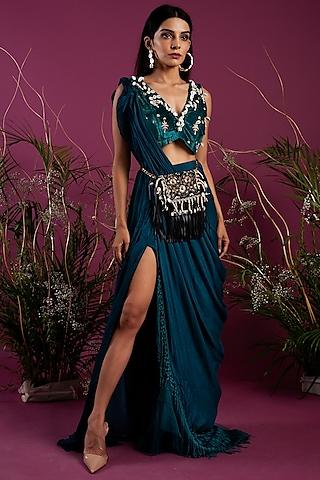 Emerald Green & Teal Blue Draped Saree Gown by Tara Thakur