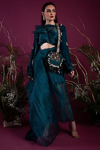 Emerald Green Jacket Set by Tara Thakur