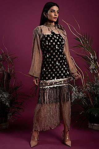 Black Dress With Crinkled Shirt by Tara Thakur