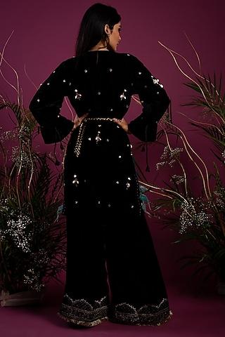 Black Velvet Tunic With Slit Pants by Tara Thakur