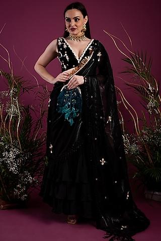 Black Draped Saree Gown by Tara Thakur