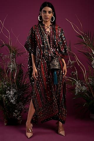 Black Printed Kaftan Dress by Tara Thakur