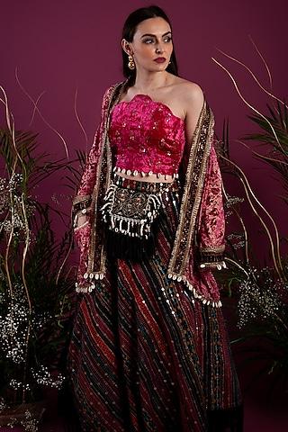 Fuchsia Embroidered Lehenga Set by Tara Thakur