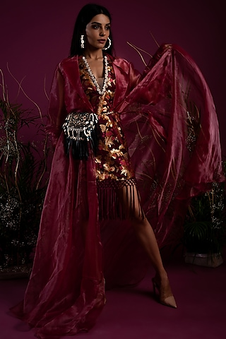 Purple Dress With Jacket by Tara Thakur