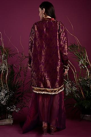 Purple Crinkled Dress With Jacket by Tara Thakur