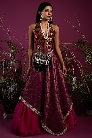 Purple Bodysuit With Skirt by Tara Thakur