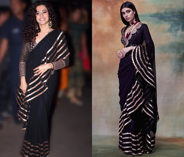 Black Embroidered Saree Set by Vvani by Vani Vats