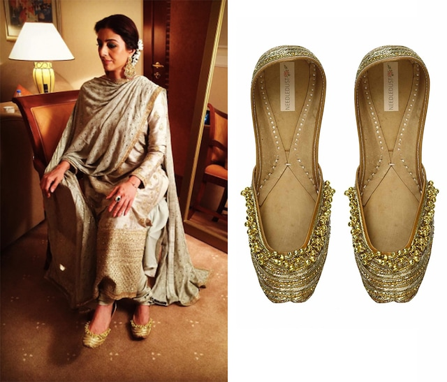 """Gold """"Forever yours"""" dabka embroidered and gold ghunghroos juttis by Needledust"""