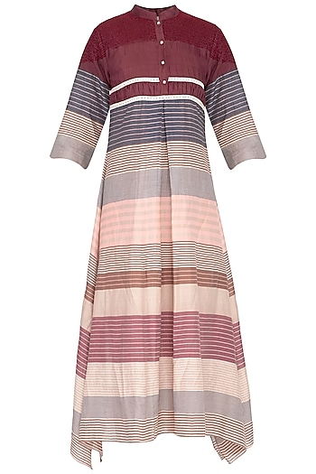 Multicolored striped pleated dress by Tahweave