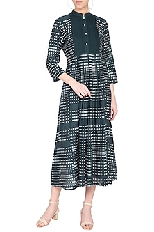 Green pleated chatai dress by Tahweave