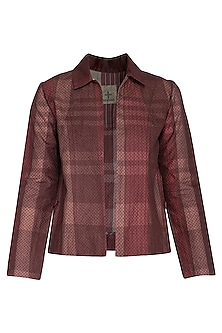 Pink checks textured jacket by Tahweave