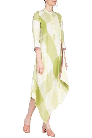 Green checks cowl dress by Tahweave