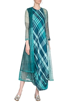 Green checks drape dress with overlayer jacket by Tahweave