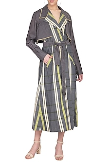 Green and grey checks trench coat by Tahweave
