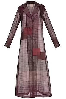 Plum shaded jamdani overlayer jacket by Tahweave