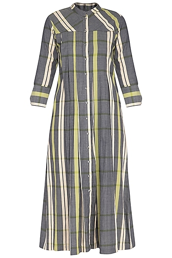 Green and grey checks pleated dress by Tahweave