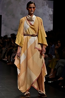Yellow Cowl Drape Dress by Tahweave