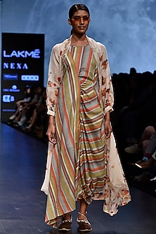 Multi Colored Striped Half Draped Dress by Tahweave