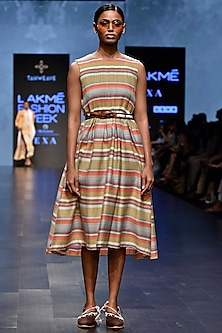 Multi Colored Striped Pin Tuck Dress by Tahweave