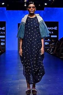 Midnight blue Jambadi Tier Dress by Tahweave