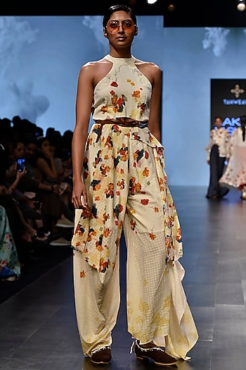 Off White Printed Drape Jumpsuit by Tahweave