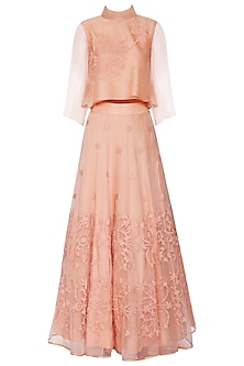Soft Peach Embroidered Top with Lehenga Skirt by TAIKA by Poonam Bhagat