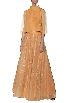 Tangerine Embroidered Top with Lehenga Skirt by TAIKA by Poonam Bhagat