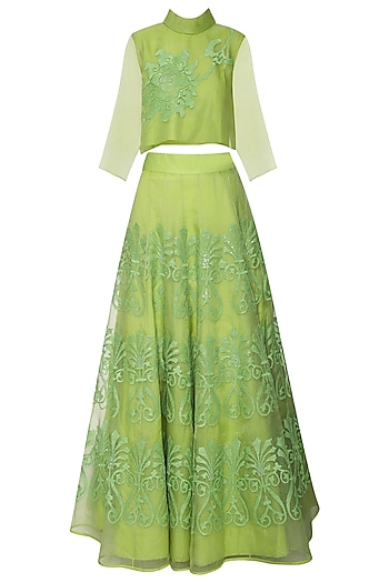 Leaf Green Embroidered Top with Lehenga Skirt by TAIKA by Poonam Bhagat