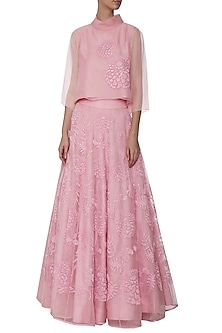 Powder Pink Embroidered Top with Lehenga Skirt by TAIKA by Poonam Bhagat