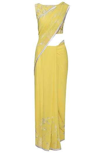 Yellow Embroidered Saree with Blouse by TAIKA by Poonam Bhagat