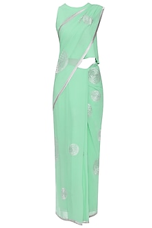 Aqua Blue Embroidered Saree with Blouse by TAIKA by Poonam Bhagat